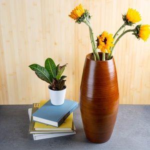 "NWT Brick & Bloom 18"" Tall Spun Bamboo Walnut Vase"